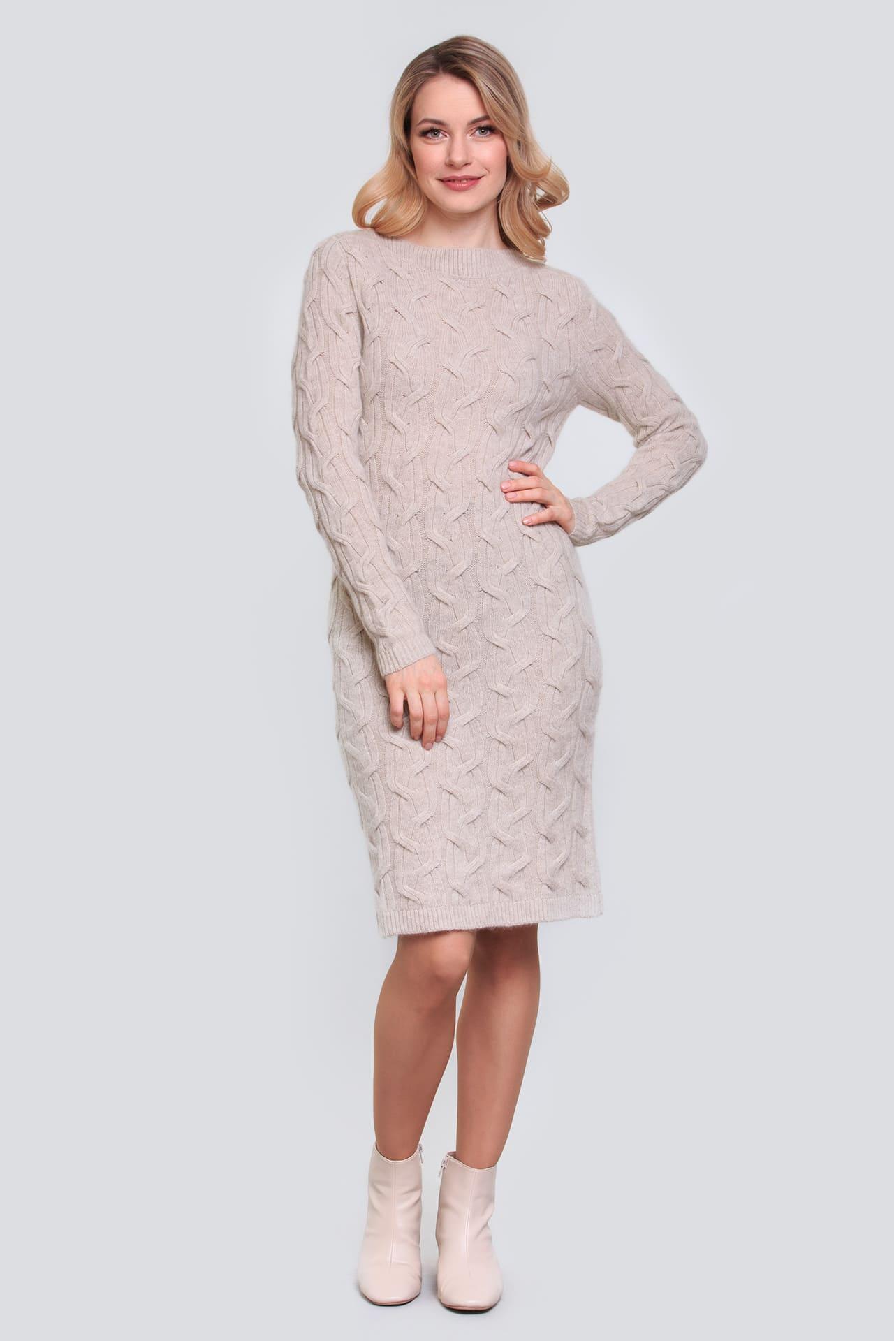 Платье с фактурным вязаным узором