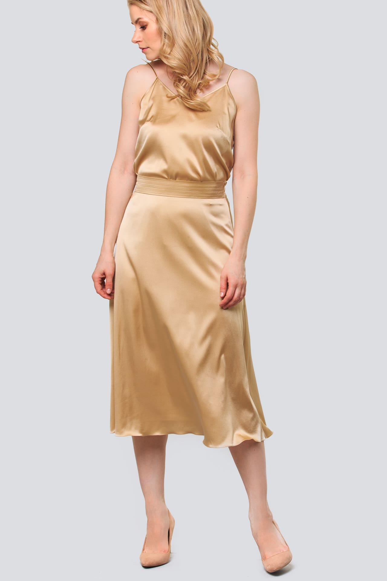 Шелковая юбка-клеш