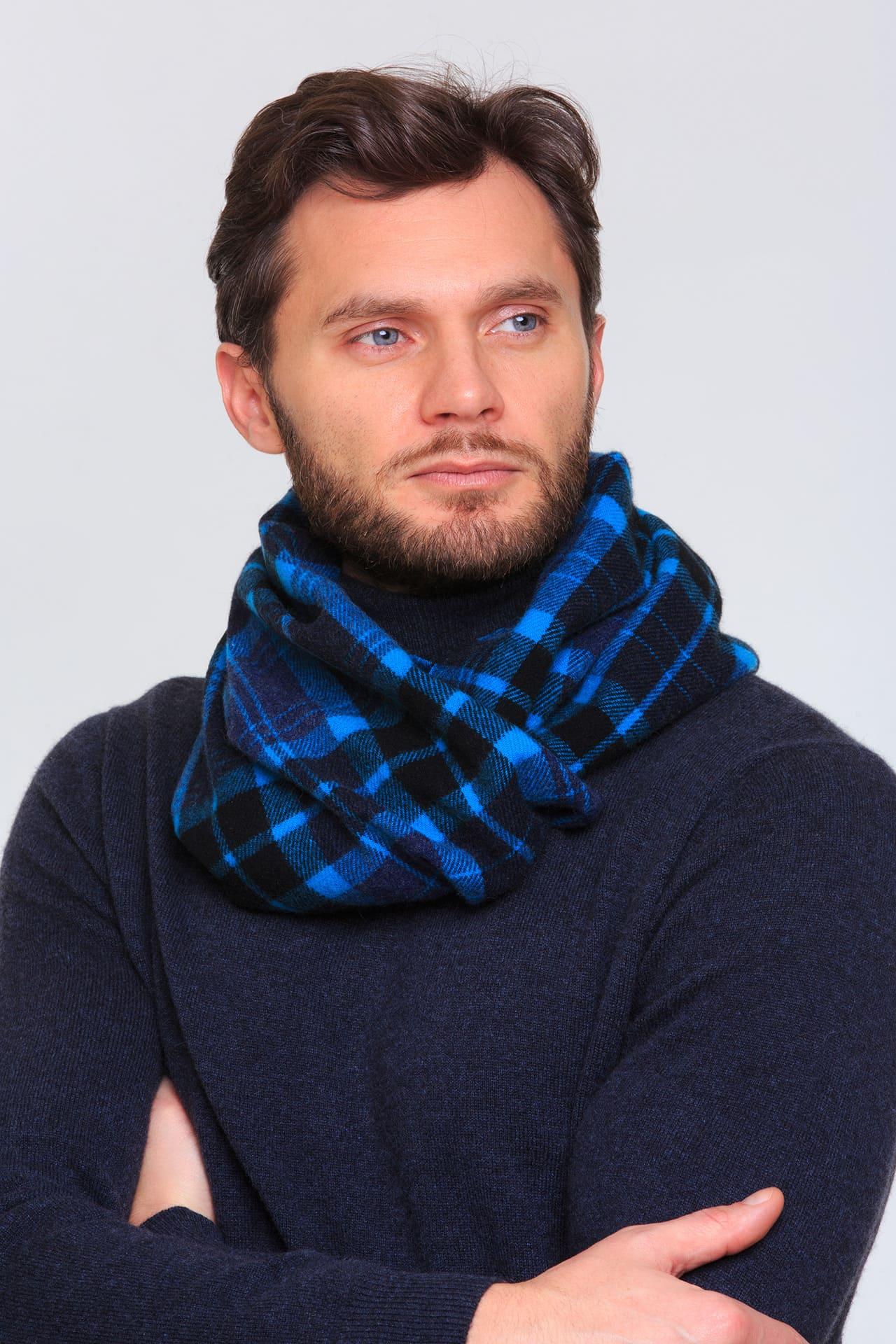 Тканый кашемировый шарф в клетку
